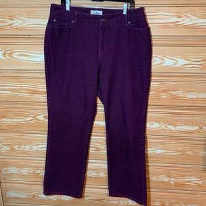 Women's LL Bean Eggplant Purple Corduroy Pants 16R